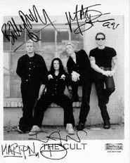 cult 8x10 signed by ian astbury, billy diffy, matt sorum & martyn lenoble from 1999 tour