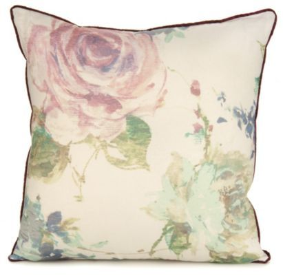 Fall in love with this romantic soft watercolour floral cushion with purple satin piping #ParisSouvenirs