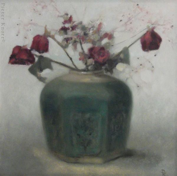 """Pieter Knorr, """"Gemberpot met paarse tak en roosjes"""", Olieverf op paneel, 2013"""