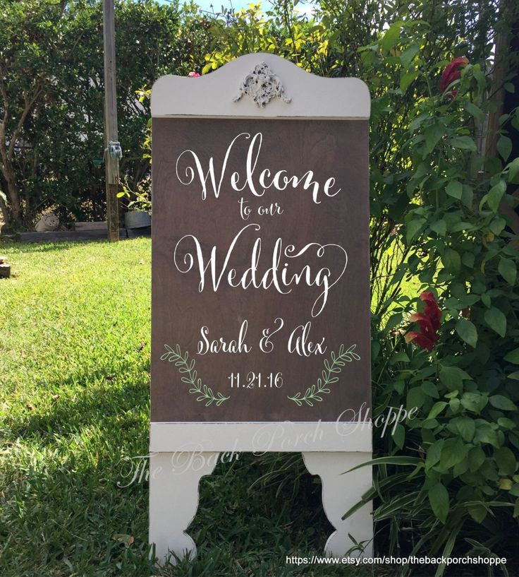 Wedding Signs - WELCOME to our Wedding SIGN - Bride and Groom Signs - A Frame Signs - Sandwich Board - Self Standing - 37 x 16 by thebackporchshoppe on Etsy https://www.etsy.com/listing/251357916/wedding-signs-welcome-to-our-wedding