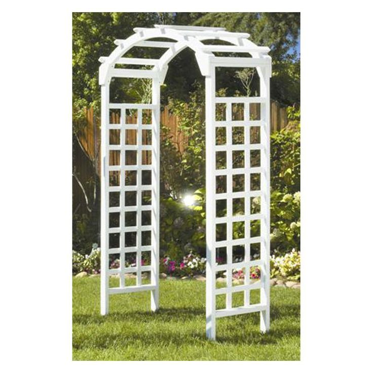 Greenstone White Arch 7 ft. Wood Arbor | from hayneedle.com