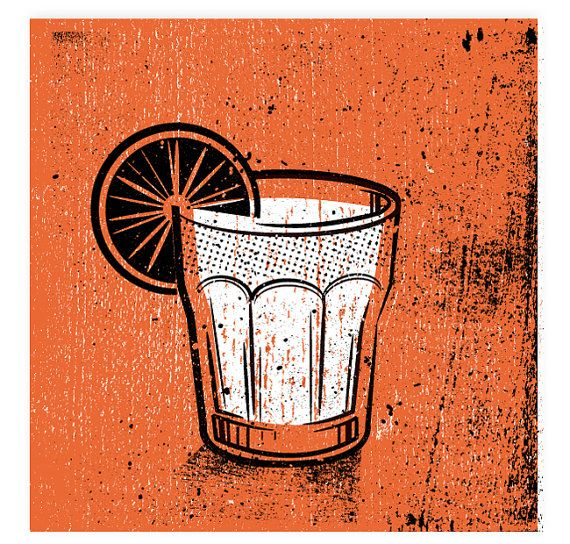 "Orange Cocktail Drink Set - Silkscreen Artprint 8"" x 8"" by twoarms 