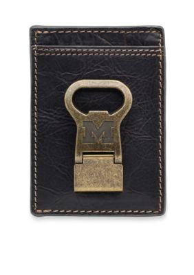 Jack Mason  Michigan Wolverines Gridiron Multicard Front Pocket Wallet with Money Clip
