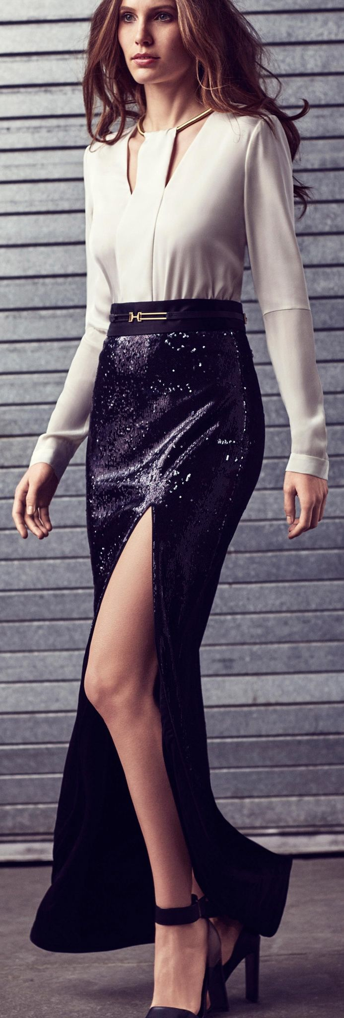 Women's fashion | Halston Heritage slit sequined maxi skirt www.puddycatshoes.com