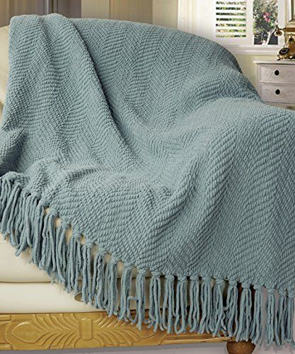 """Knitted Tweed Throw Couch Cover Blanket, 50 by 60"""", Silver Blue"""