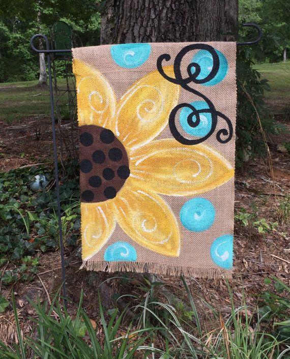Handpainted Burlap Garden Flag ….Sunflower & Polka Dots