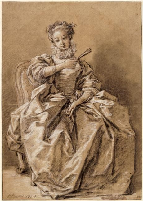 "Drawing of a Young Woman, dressed à ""l'Espagnole"", by François Boucher  ca. 1750. Musée du Louvre."