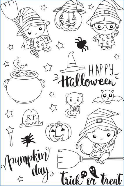 YPP CRAFT Feliz Halloween Claro Transparente de Silicona Sellos de BRICOLAJE para Hacer Scrapbooking/Tarjeta/Kids Fun Suministros de Decoración