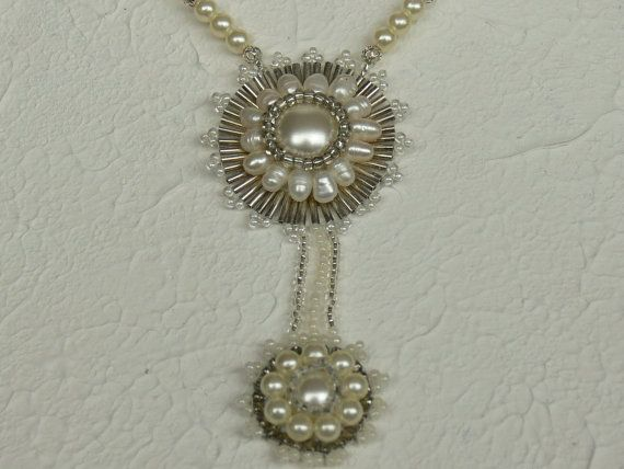 Bride's necklace. Classical necklace surrounded by by Evesbeads, $180.00