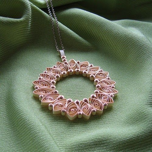 Quilled Rose Gold Paper Necklace and Quilled Nursery Photo Frame