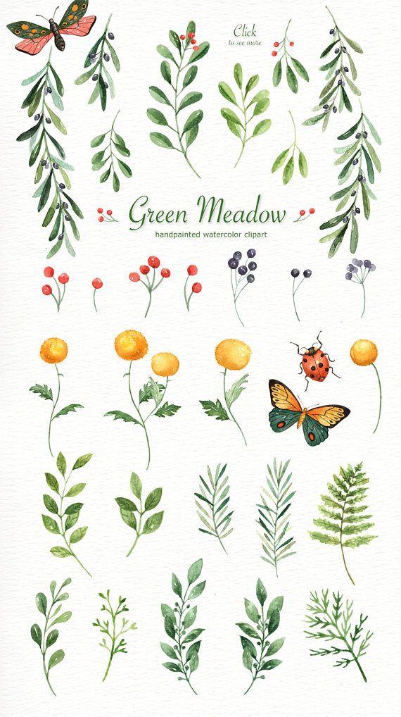 Green Meadow Watercolor clipart, watercolor leaf, wedding clipart, fern art, green leaf, woodland florals, diy, botanical plants, clip art
