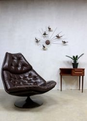 Mid century Artifort swivel chair F588, vintage Artifort draaifauteuil Geoffrey Harcourt www.bestwelhip.nl