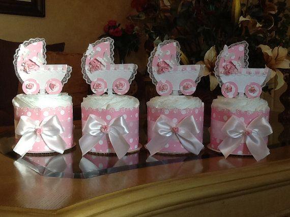 Mini diaper cake set of 4 baby girl carriage by InspiredbyElena