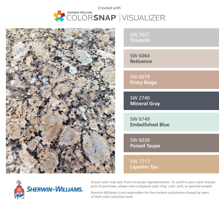 I found these colors with ColorSnap® Visualizer for iPhone by Sherwin-Williams: Tinsmith (SW 7657), Reticence (SW 6064), Pinky Beige (SW 0079), Mineral Gray (SW 2740), Embellished Blue (SW 6749), Poised Taupe (SW 6039), Ligonier Tan (SW 7717).