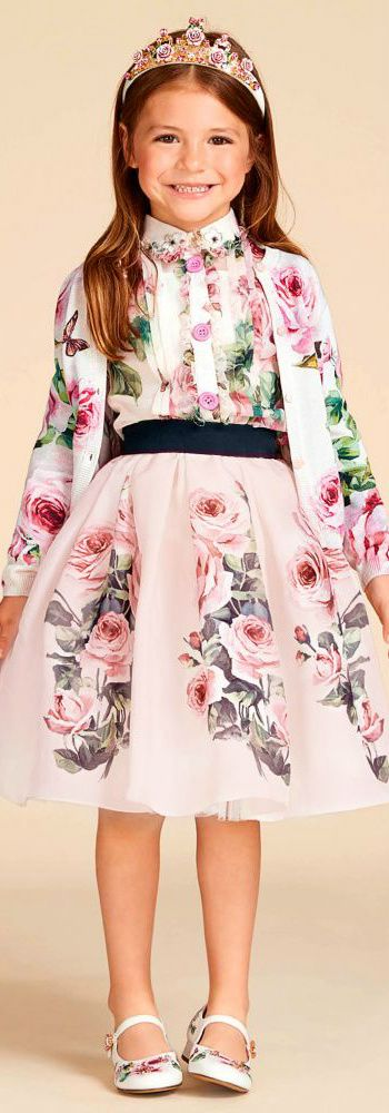 DOLCE & GABBANA Girls Mini Me Pink Rose Silk Organza Shirt, Skirt & Cardigan Love this delightfully pretty Shirt & Skirt from Dolce & Gabbana made in fine cotton and has a pink rose print. Perfect vintage style party outfit for a little princess at any special occasion or wedding. Pretty Style for for stylish kid, tween and teen girls.#kidsfashion #fashionkids #girlsdresses #childrensclothing #girlsclothes #girlsclothing #girlsfashion #dolcegabbana