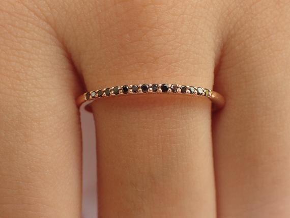 Dainty Black Diamond Ready to Ship 14k Rose Gold Thin Dainty Band Black Diamond Stackable Ring Fast Shipping
