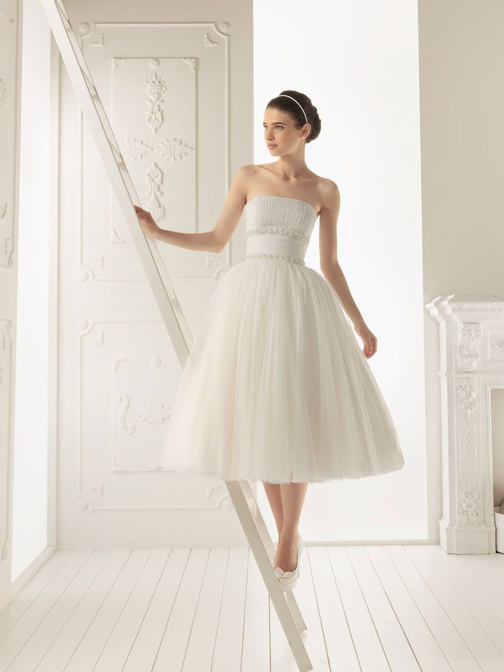 reasonably priced...and adorable! Tulle Strapless Ball Gown Style with Tea-Length Pleated Skirt 2013 Wedding Dress
