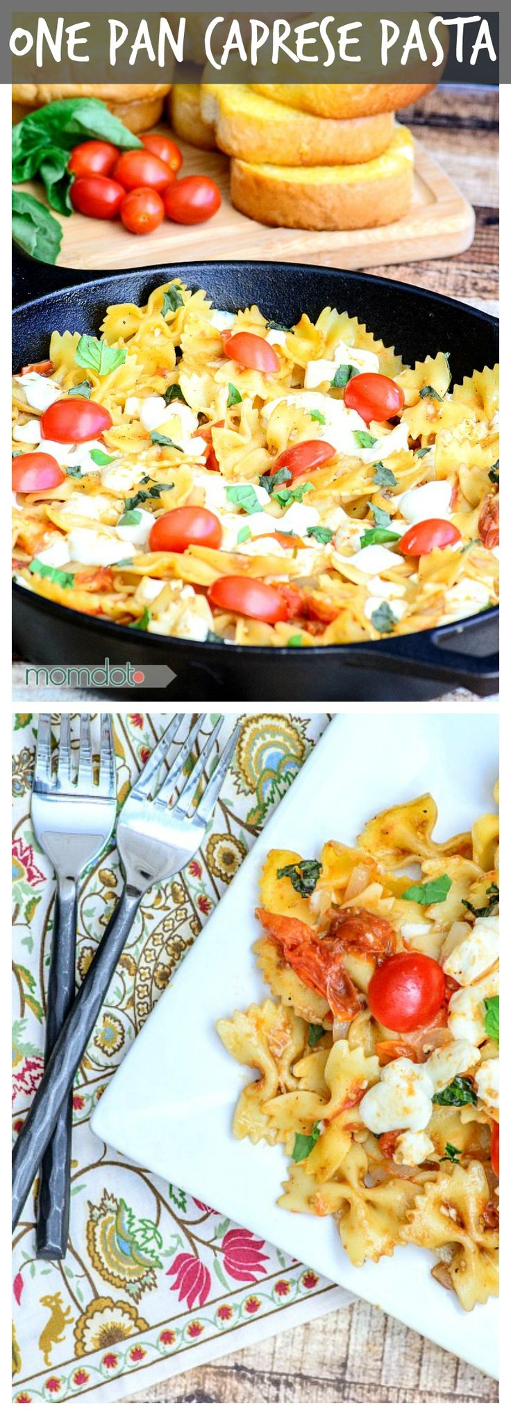 One Pan Caprese pasta (No Draining!) , enjoy delicious fresh basil, mozzerella, and tomatoes in this meal that is perfect for dinner or lunch and provides incredible left overs