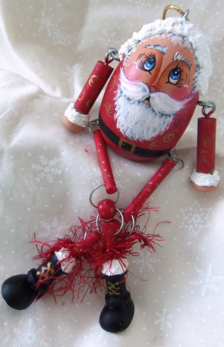 Santa Hand Painted Original Wooden Egg Signed And Dated By Creeggtions On  Etsy Https: