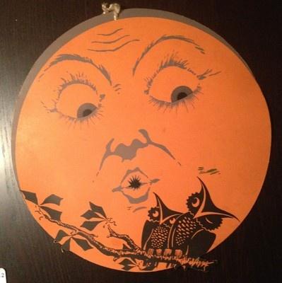 Vintage Halloween Die-Cut ~ Dennison Harvest Moon w/ Hoot Owls * Circa, 1920's