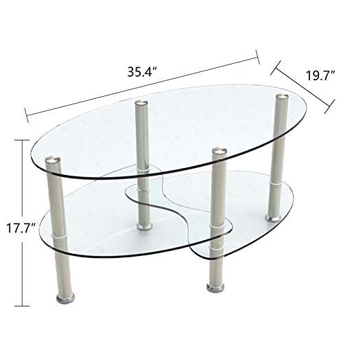 Oval Frame Chrome Base Armchair Side Fishtail Style Bar Console Coffee Table 3 Layer Tempered Clear Modern Glass Coffee Table Luxury Coffee Table Coffee Table