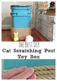 Cats Toys Ideas - Cat Scratching Post/Toy Box - The Best DIY #OneStopKittyShop #ad - Ideal toys for small cats