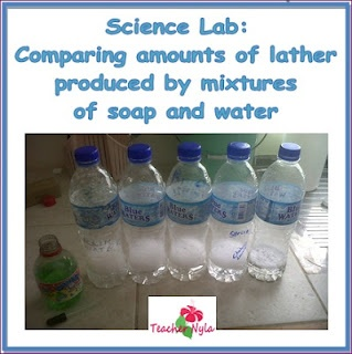 Free Science Lab for School, comparing lather from soapy solution