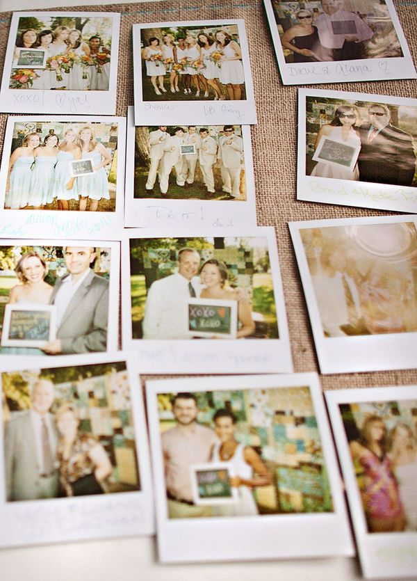 Cute Wedding guestbook idea: poloroid+chalkboard messages.