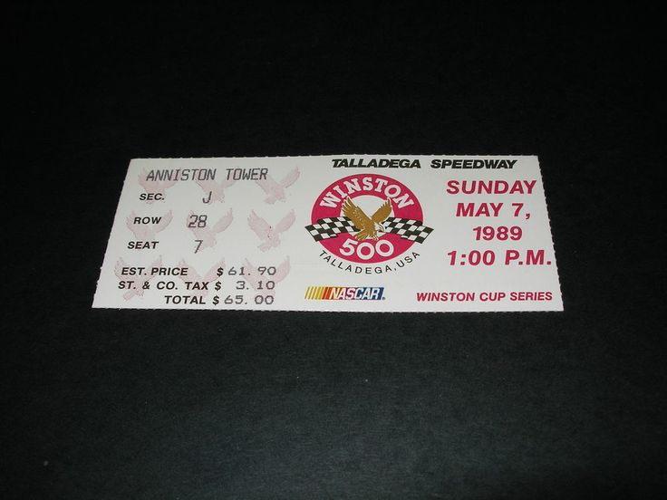 Vintage 1989 Nascar Talladega Winston 500 Ticket Stub Davey Allison Win