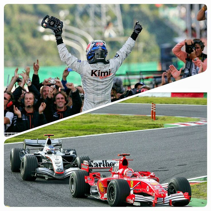 "October 9, 2005 ~ Raikkonen wins ""the race of the decade"" at Suzuka.  Kimi Raikkonen scythed his way through the field at the Japanese GP in his McLaren-Mercedes after a rain drenched qualifying session put him 17th on the starting grid.  Kimi passed Michael Schumacher on the outside of the 180mph 130R corner on his way to victory, and later said """"I think that was one of my best races ever... I really enjoyed myself."" #F1 #KimiRaikkonen #JapaneseGP #OnThisDay"