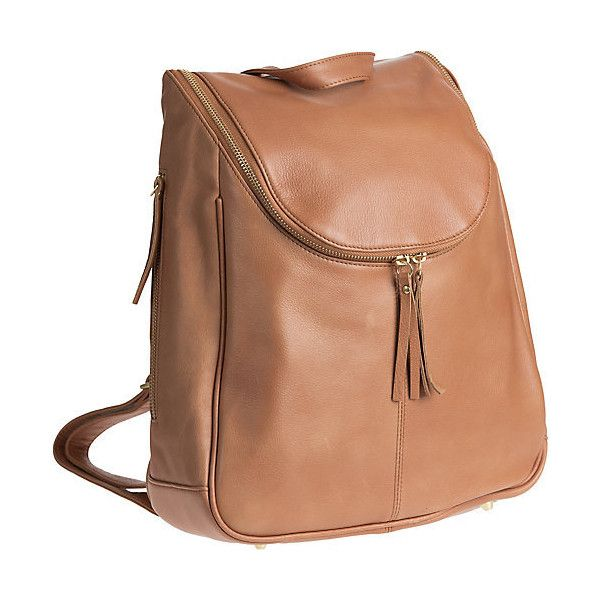 Nora Argentine Leather Backpack Handbag ($239) ❤ liked on Polyvore featuring bags, backpacks, strap backpack, leather bags, leather zipper backpack, leather strap backpack and leather rucksack