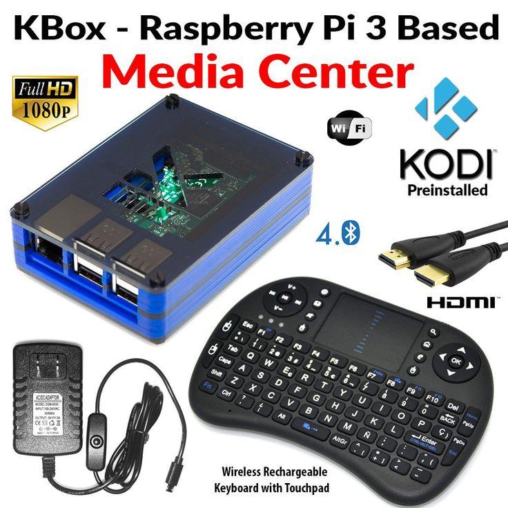 Raspberry Pi 3 Based Extreme Media Center -  Kodi Installed - Blue Case - Wireless Keyboard/Mouse Combo