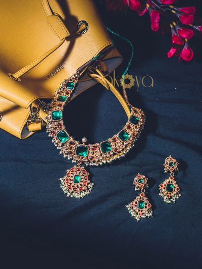 emerald and polki necklace , u shaped necklace , close to neck necklace emerald and gold