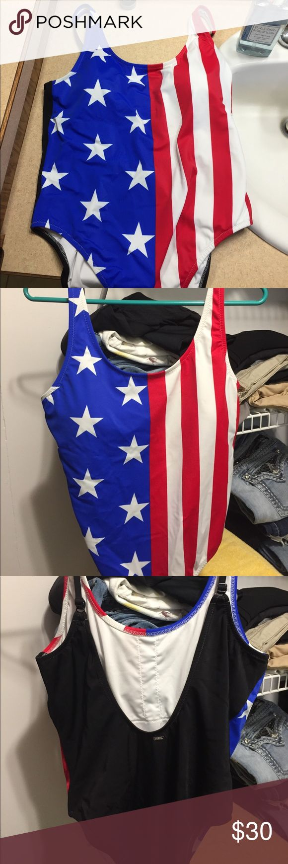 PINK American flag one piece swim suit Newly bought, no tags. PINK Victoria's Secret Swim One Pieces
