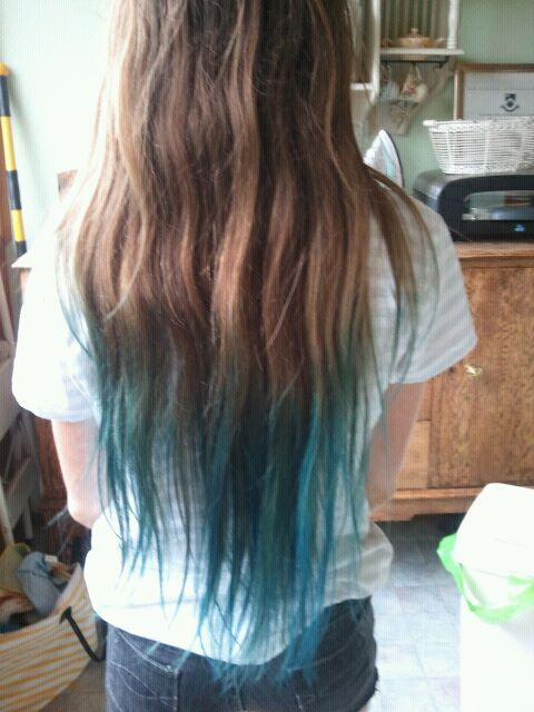 Ombre hair blue and brown