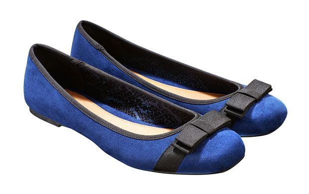 """Bow Ballerina Pumps. """"Finished with a pretty black bow, these blue ballet flats will add a shot of colour to everyday dressing."""""""