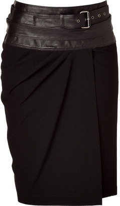 Donna Karan Black Wrap Skirt with Leather Yoke