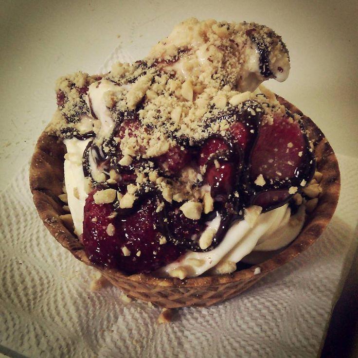 Strawberry Chocolate Waffle Bowl Sundae