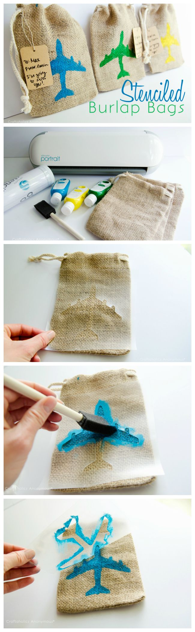 Make your own custom reusable stencils! These are really cute gift bags. Love the little airplanes.