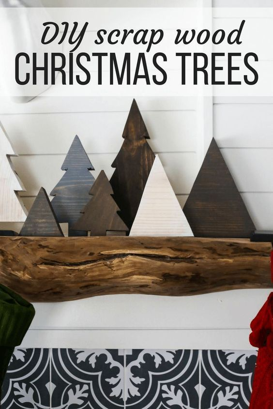 How to make easy DIY scrap wood Christmas trees for your holiday mantel. Great ideas for Christmas decor and a simple Christmas DIY project. #decoratingachristmastree