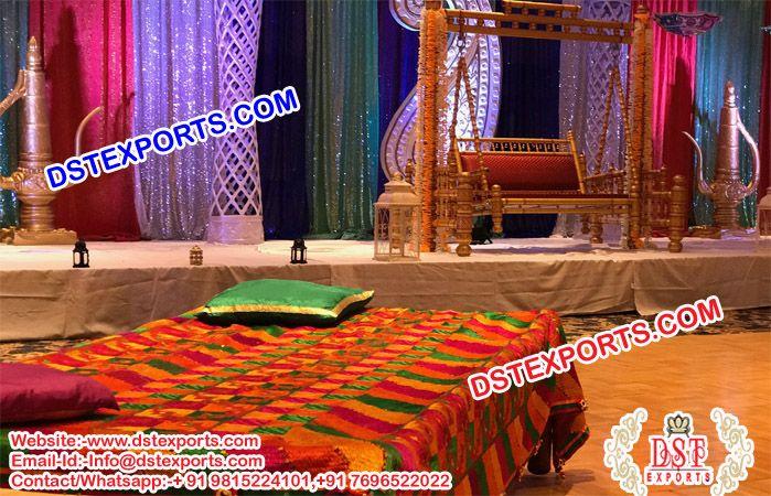Punjabi Sangeet Stage Phulkari Bagh Bed Sheet Us