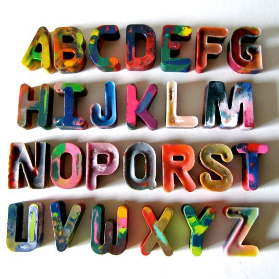 ALPHABET Recycled Crayons-Alphabet Recycled Rainbow Crayons - Set of 26 Individually Packaged Recycled Rainbow Crayons