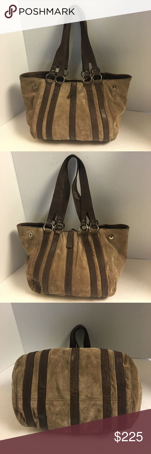 Miu miu Brown suede and leather tote shoulder bag Nice gently used miu miu Prada chocolate brown suede shoulder bag with brown leather trim and straps. 9 inch strap drop. Has two snaps on each side. Can be carrried with snaps open or closed. I have photographed both ways. Magnetic snap closure. Inside lining is dark brown with zipper pocket inside. Very clean. Just a few light spots on the exterior. Very good condition. See photos. Miu Miu Bags Shoulder Bags