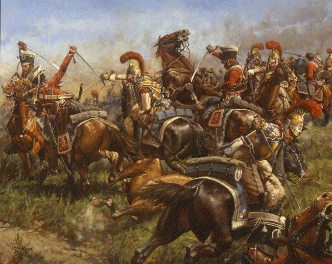 "The Melee: French Carabiniers and Russian Hussars at the Battle of Borodino.  Keith Rocco.  Passing by the Raevsky Redoubt and flooding the plateau beyond, French cavalry consisting of elements of Montbrun's 2nd Reserve Cavalry Corps and Grouchy's 3rd Reserve Cavalry Corps became embroiled with Russian regiments of horse in a fight that General Barclay de Tolly described as ""one of the most stubborn cavalry battles of history."""