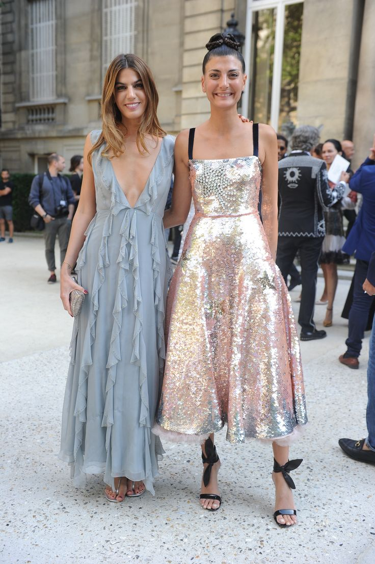 Bianca Brandolini D'Adda and Giovanna Battaglia both wearing Valentino dresses from the Fall/Winter 2016 – 17 Collection to the Valentino Haute Couture Fall/Winter 2016 - 2017 Fashion Show on July 8th 2016.