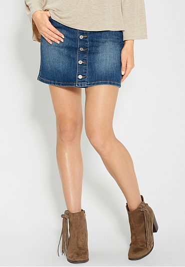 button front denim skirt (original price, $34) available at #Maurices