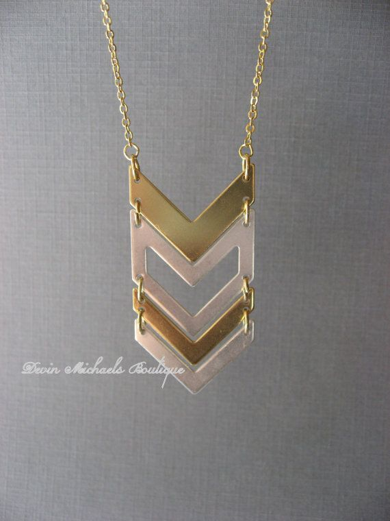 Long Chevron Pendant Necklace, Gold and Silver Statement Necklace - Etsy. $22.50. Would look great with literally EVERYTHING.