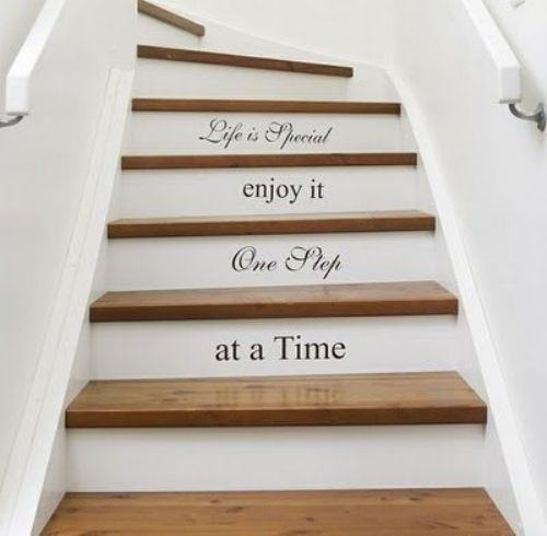 Words on the stairs  Love this idea:love, patience, family, patience, etc...