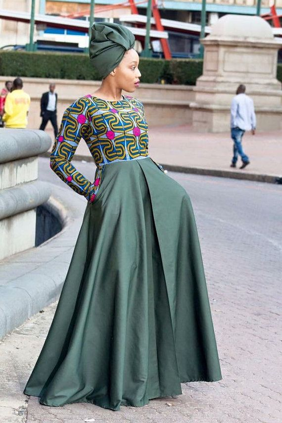 Army green African print long dress with pockets and headwrap