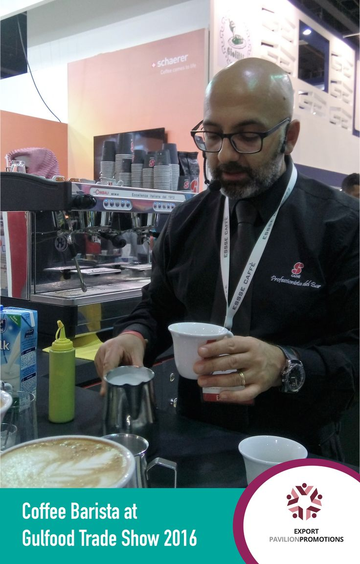 While walking around the Gulfood trade show, we stopped for a quick coffee and were greeted by a very outspoken coffee barista. What a day! Want to experience this too? Give us a call: +27 12 771 8510. ............ #exportpavilionpromotions #coffee #coffeebarista #gulfood2016 #tradedevelopment #tradeshows #dubaitrade
